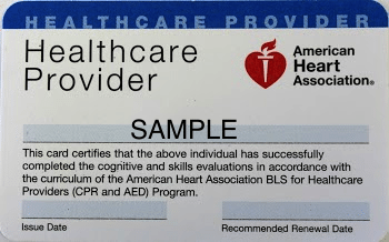 bls association certification heart american aha card cpr renewal sample courses classes study student recertification basic support chain concord guide